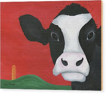 Regina The Happy Cow Wood Print by Kristi L Randall