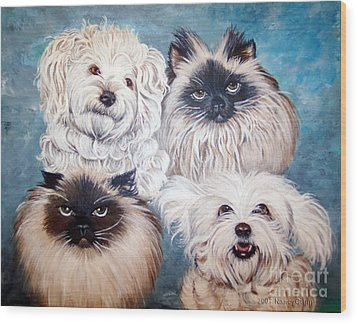Reigning Cats N Dogs Wood Print