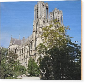 Reims Cathedral Reims France Wood Print by Marilyn Dunlap