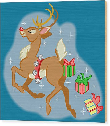 Reindeer Gifts Wood Print by J L Meadows