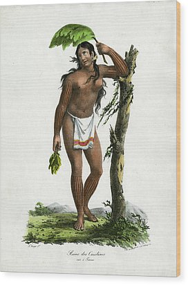Reine De Carolines Queen Of The Carolines On Tinian Wood Print by Jacques Arago