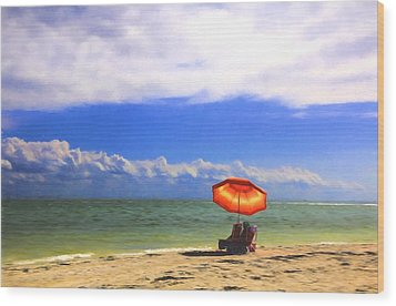 Relaxing On Sanibel Wood Print by Sharon Batdorf