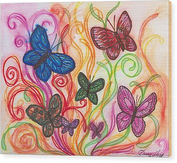 Releasing Butterflies I Wood Print by Denise Hoag