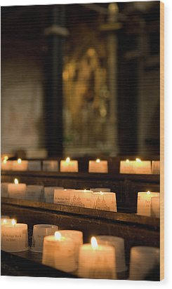 Wood Print featuring the photograph Religion - Candlelight - Cathedral Of Trier - Christian Church In Antiquity by Urft Valley Art