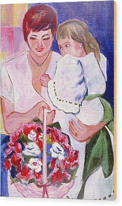 Wood Print featuring the painting Reluctant Flower Girl by Betty Pieper