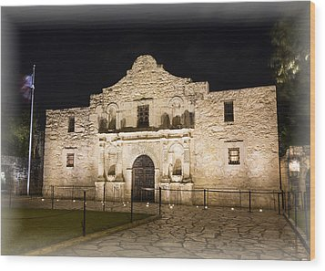 Remembering The Alamo Wood Print by Stephen Stookey