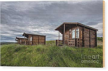 Wood Print featuring the photograph Remote Cabins Myvatn Iceland by Edward Fielding