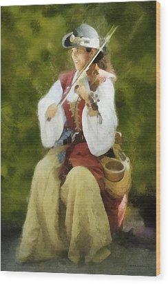 Wood Print featuring the digital art Renaissance Fiddler Lady by Francesa Miller