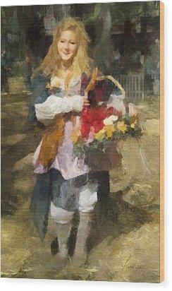 Renaissance Flower Lady Wood Print by Francesa Miller