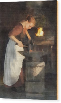 Renaissance Lady Blacksmith Wood Print by Francesa Miller