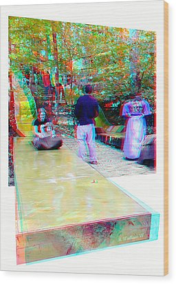 Wood Print featuring the photograph Renaissance Slide - Red-cyan 3d Glasses Required by Brian Wallace