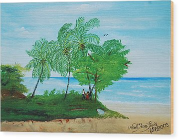 Wood Print featuring the painting Rendez-vous By The Beach by Nicole Jean-Louis