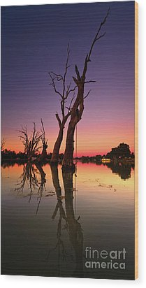 Wood Print featuring the photograph Renmark South Australia Sunset by Bill Robinson