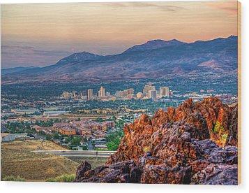 Reno Nevada Cityscape At Sunrise Wood Print by Scott McGuire