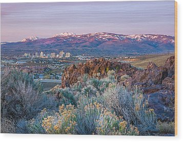 Wood Print featuring the photograph Reno Nevada Spring Sunrise by Scott McGuire