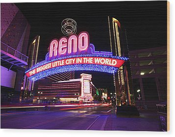 Reno - The Biggest Little City In The World Wood Print by Shawn Everhart