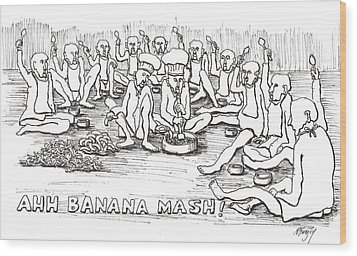 Wood Print featuring the drawing Repast by R  Allen Swezey
