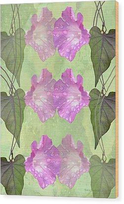 Repeated Morning Glories Wood Print by Rosalie Scanlon