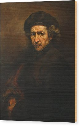 Replica Of Rembrandt's Self-portrait Wood Print by Tigran Ghulyan