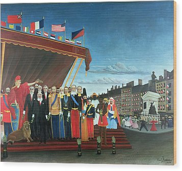 Representatives Of The Forces Greeting The Republic As A Sign Of Peace Wood Print by Henri Rousseau