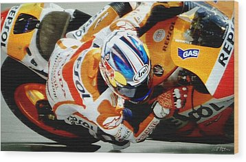 Repsol Honda Wood Print by Bill Stephens