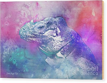 Wood Print featuring the mixed media Reptile Profile by Jutta Maria Pusl