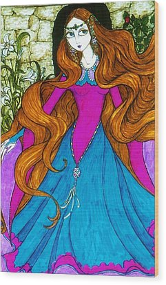 Wood Print featuring the drawing Repunzel by Rae Chichilnitsky