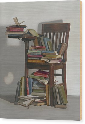 Wood Print featuring the painting Required Reading by Gail Chandler