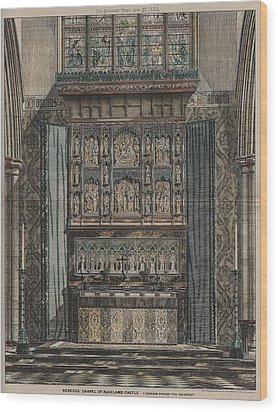 Reredos Chapel Of Aukland Castle 1884 Wood Print by Dodgson Fowler