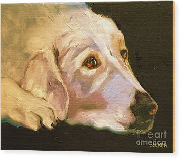 Rescued Golden Wood Print by Susan A Becker