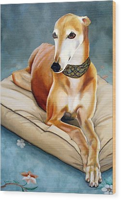 Rescued Greyhound Wood Print