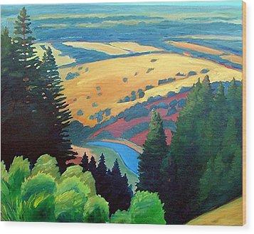 Reservoir Below Wood Print