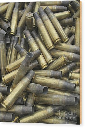 Residual Ammunition Casing Materials Wood Print by Stocktrek Images