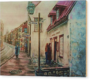 Restaurant Aux Anciens Canadiens Quebec City Wood Print by Carole Spandau