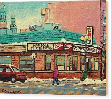 Restaurant Greenspot Deli Hotdogs Wood Print by Carole Spandau