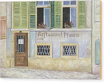 Restaurant Pfauen Wood Print