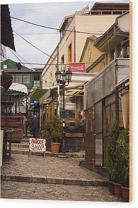 Restaurants In The Bazaar Wood Print by Rae Tucker