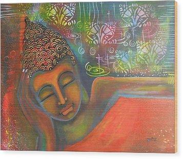 Buddha Resting Against A Colorful Backdrop Wood Print by Prerna Poojara