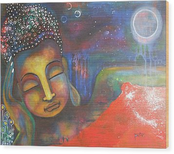 Buddha Resting Under The Full Moon  Wood Print
