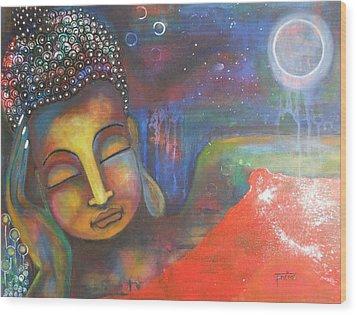 Buddha Resting Under The Full Moon  Wood Print by Prerna Poojara