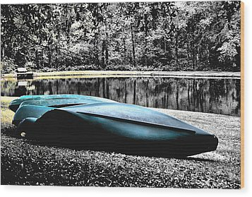 Resting Canoes Wood Print by Greg Sharpe