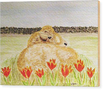 Resting In The Tulips Wood Print by Angela Davies