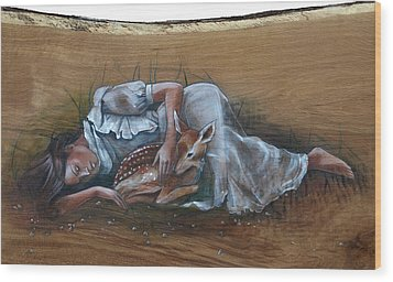 Resting Maiden With Fawn Wood Print by Jacque Hudson