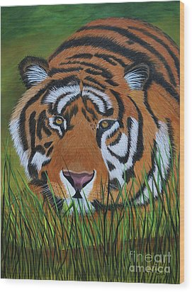 Wood Print featuring the painting Resting Tiger  by Myrna Walsh