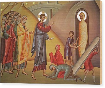 Wood Print featuring the painting Resurrection Of Lazarus by Munir Alawi
