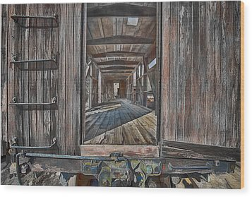 Retired Train Car Jamestown Wood Print by Steve Siri