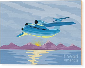 Retro Airliner Flying  Wood Print by Aloysius Patrimonio