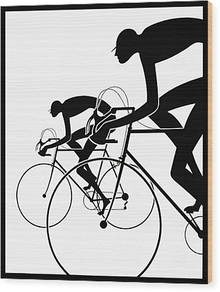 Wood Print featuring the photograph Retro Bicycle Silhouettes 2 1986 by Padre Art