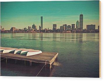 Retro Boston Wood Print by Andrew Kubica