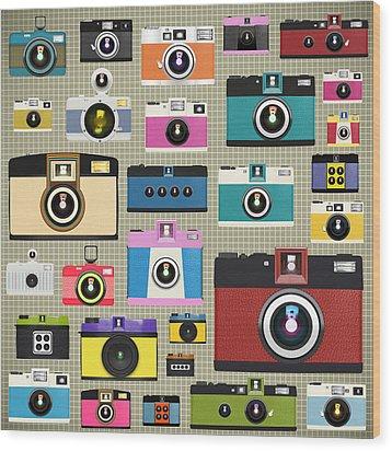 Retro Camera Pattern Wood Print by Setsiri Silapasuwanchai